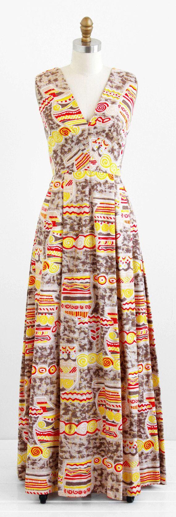 1960's/70's Red and Yellow Batik Print Maxi Dress. Great print...