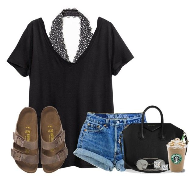"""""""Day 2"""" by lydia-hh ❤ liked on Polyvore featuring moda, Free People, H&M, Birkenstock, Levi's, Givenchy, Illesteva, Pura Vida y k7setsofspring"""