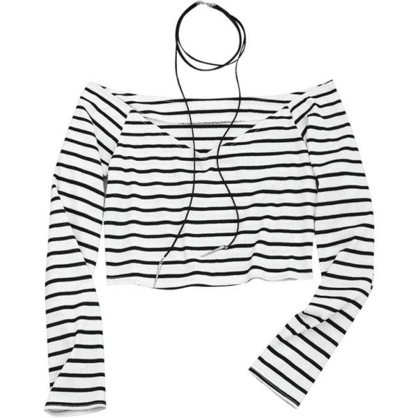 Cropped Striped Off Shoulder Top ($30) ❤ liked on Polyvore featuring tops, white crop tops, striped off the shoulder top, white off shoulder top, off the shoulder crop top and white off the shoulder top