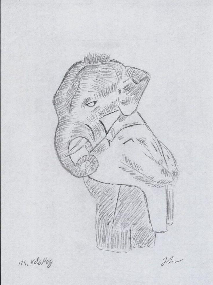 """""""Elefantul Negru"""" este un desen simplu in creion al carui nume a fost inspirat de celebra povestire a lui Kipling, """"Toomai al elefantilor""""."""