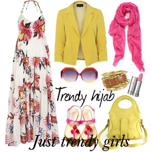floral beach maxi dress Trendy hijab style collection http://www.justtrendygirls.com/trendy-hijab-style-collection/