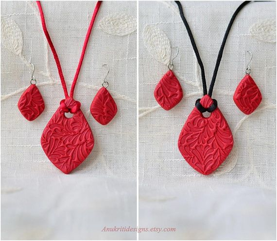 Pendant necklace - Red necklace - Boho Necklace set for women - Birthday gift for her - Everyday jewelry - Black Red Polymer clay jewelry