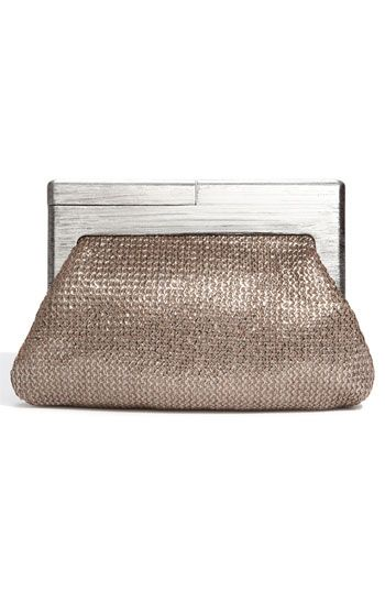 Melie Bianco Daisy Bronze Metallic Wood Frame Crochet Clutch
