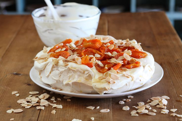 Pavlova with Dried Apricots and Roasted Almonds - Maggie Beer