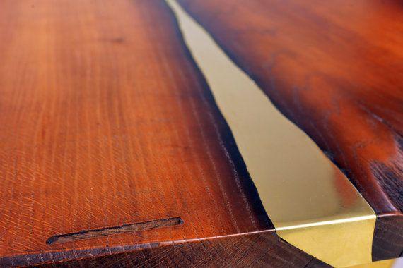 Live edge coffee table Antra. Modern coffee table. Brass от Railis