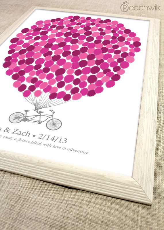 Wedding Guest Book Alternative - Balloons on A Bicycle Built For Two - The Signature Bikewik - A Peachwik Art Print -  225 guest sign in on Etsy, $73.65 AUD
