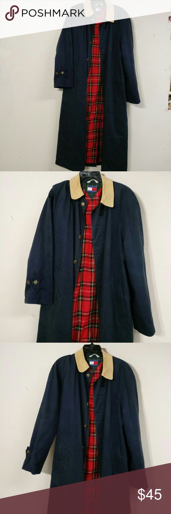 Men's Tommy Hilfiger Old School Rain☔Jacket Men's Tommy Hilfiger Old School Rain☔Jacket Small Size / Blue Classic Long Rain Coat In excellent condition & ready to protect you from the elements. Tommy Hilfiger Jackets & Coats Trench Coats