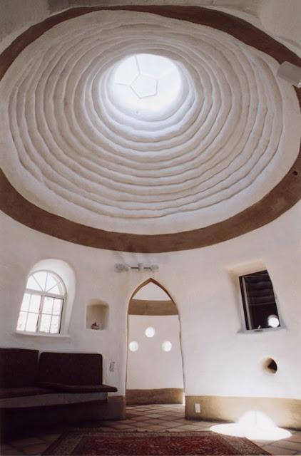The bohemian interior of a Cob home