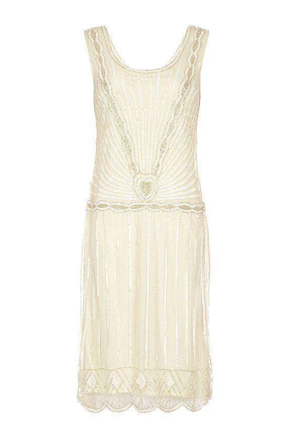 PETITE longueur Charleston off blanc Vintage des par Gatsbylady