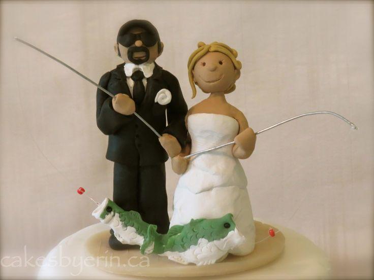 Fishing Couple Wedding Cake Topper