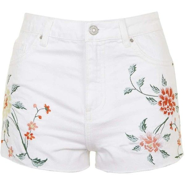 TopShop Moto Embroidered Mom Shorts (195 PEN) ❤ liked on Polyvore featuring shorts, high waisted cotton shorts, jean shorts, high rise jean shorts, denim shorts and high-waisted denim shorts