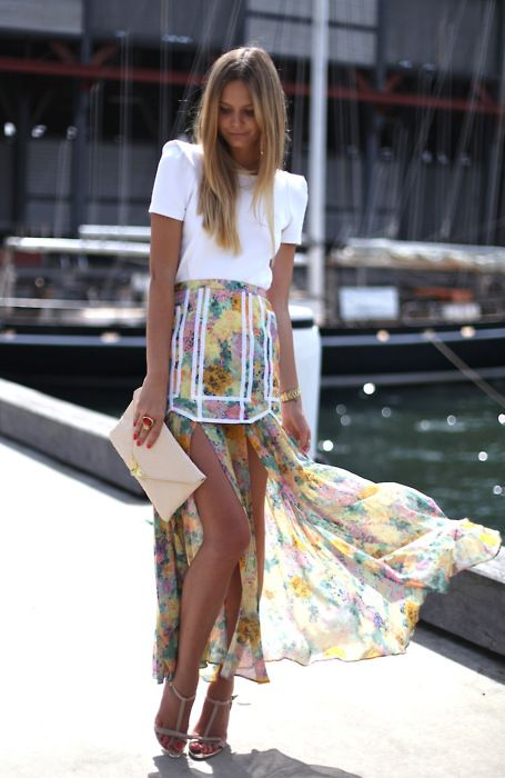 high-low floral skirt