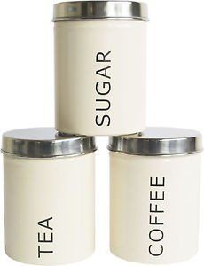 Tea, Coffee, Sugar Set of 3 Kitchen Storage Canisters - Cream. Visit us now and ENJOY 10% OFF + FREE SHIPPING on all orders