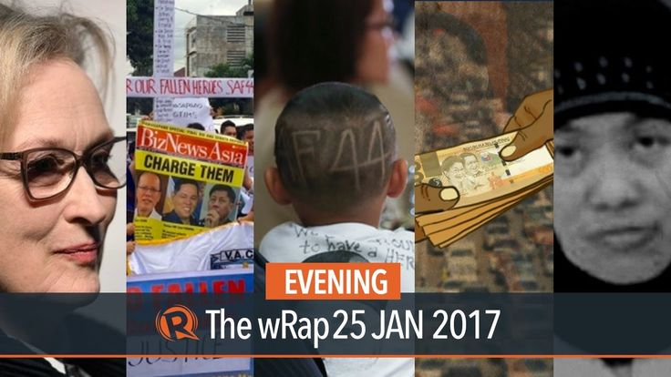SAF 44, Ombudsman, Streep | Evening wRap - WATCH VIDEO HERE -> http://dutertenewstoday.com/saf-44-ombudsman-streep-evening-wrap/   Today on Rappler: – Families of SAF 44 demand justice from Duterte – Ombudsman admits filing of charges related to Mamasapano delayed by 7 months – OFW executed in Kuwait – Philippines slides down in world corruption rankings – Streep nominated for 20th Academy...