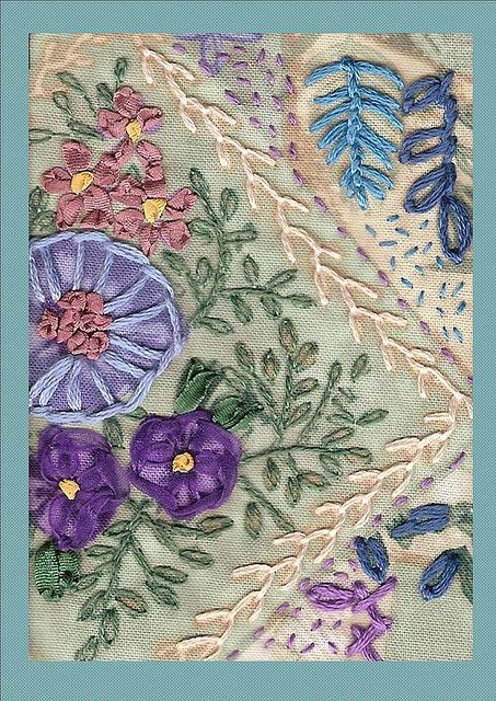 I ❤ crazy quilting & embroidery . . . ATC Stitched Patchwork Print- Traded ~By konnykards