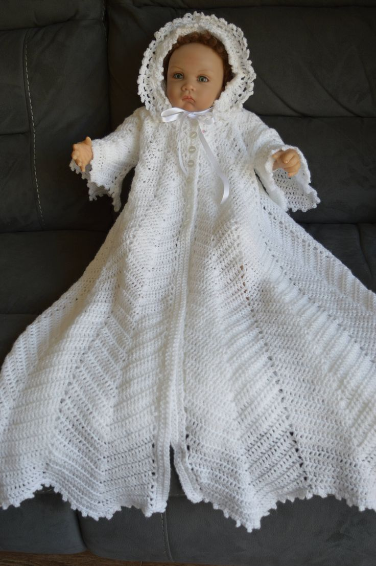 Baby Crochet Christening Coat With flared Sleeves in White 3-6 month Ready to Ship now by Meganknits4charity on Etsy