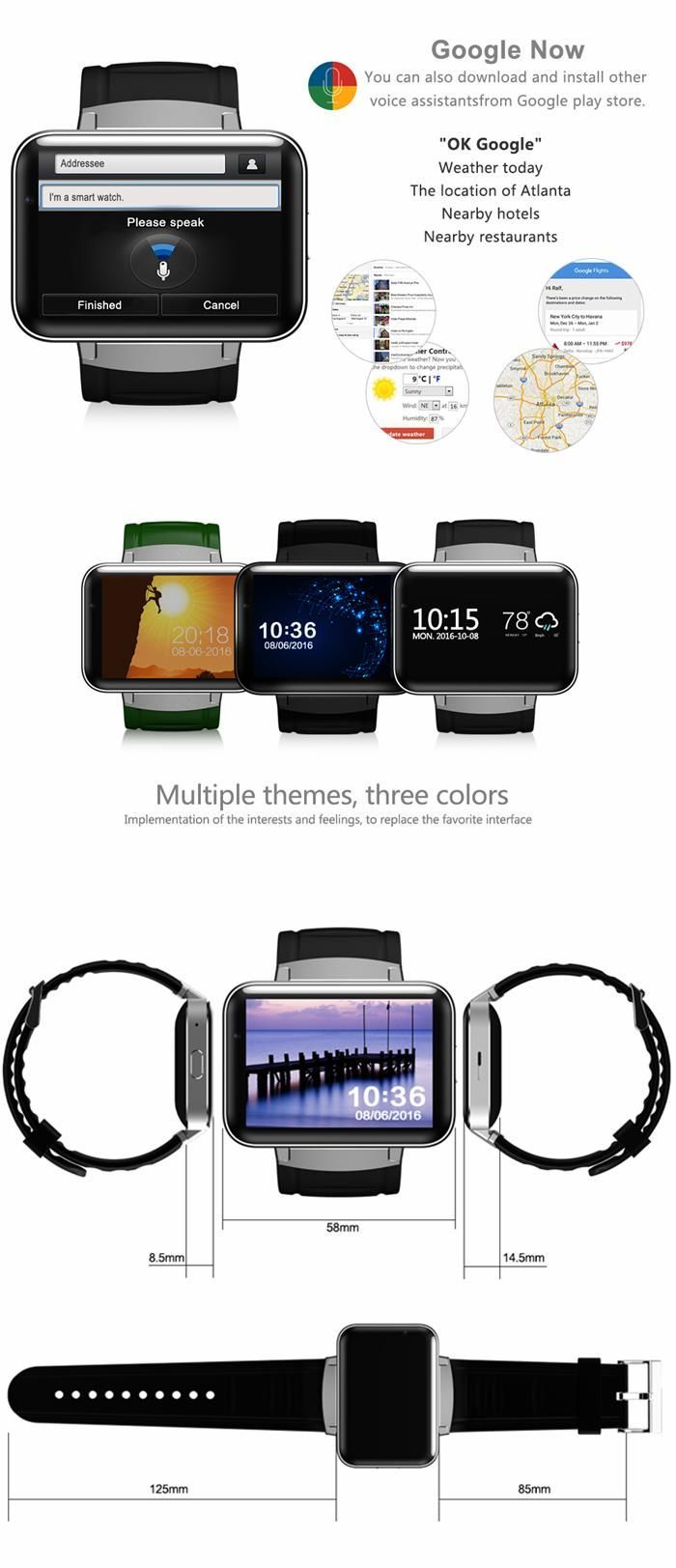 DM98 3G Camera Smart Watch Phone 320*240HD Resolution 2 2