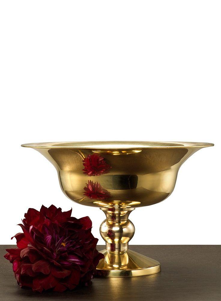 10in Polished Brass Urn Floral Design Polished Brass Metal Vase Decorative Bowls