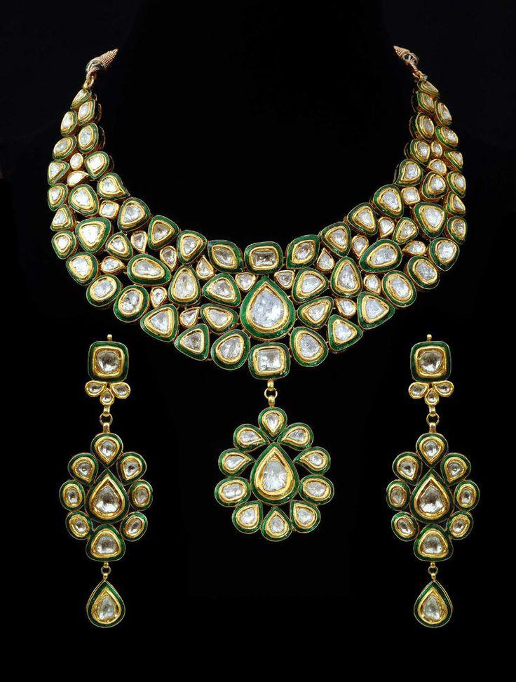 Bridal Wear Enamel (Kundan Meena) Necklace Set in 22k Gold & Diamonds (Polqui) #SitaramHanumandas