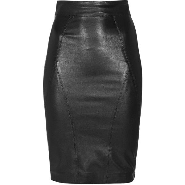 SLY 010 Feminine Luxury Black Nappa leather pencil skirt with slit found on Polyvore