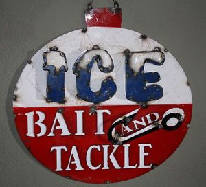 Metal BAIT AND TACKLE Sign ICE Garage Man Cave Home Decor Recycled Fish  Fishing | eBay