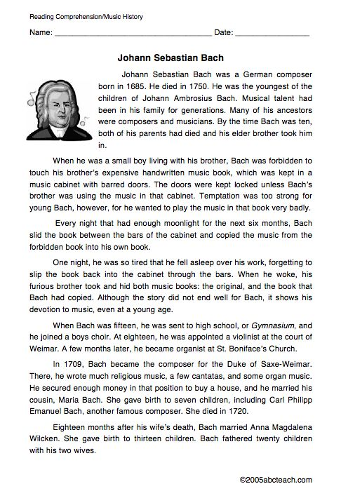 Johann Sebastian Bach Biography Worksheet