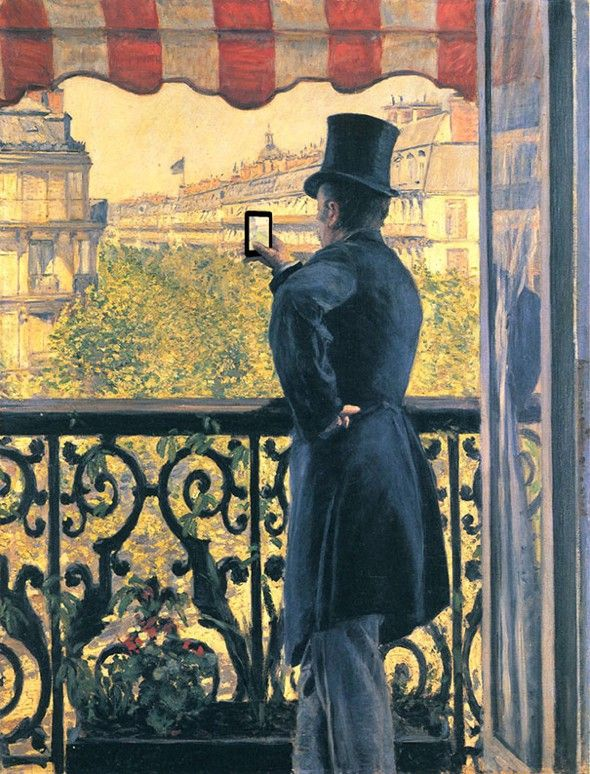 L'homme au balcon by Gustave Caillebotte revisited  by Kim Dong Kyu l #classicpaintings #gadgets #loneliness