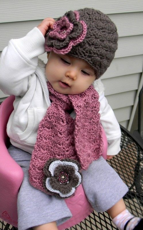 Crochet Pattern For Baby Hat And Scarf : hat and scarf, too cute! Props Pinterest Crochet ...