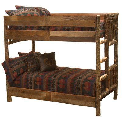 fireside lodge hickory bunk bed with barnwood rail size