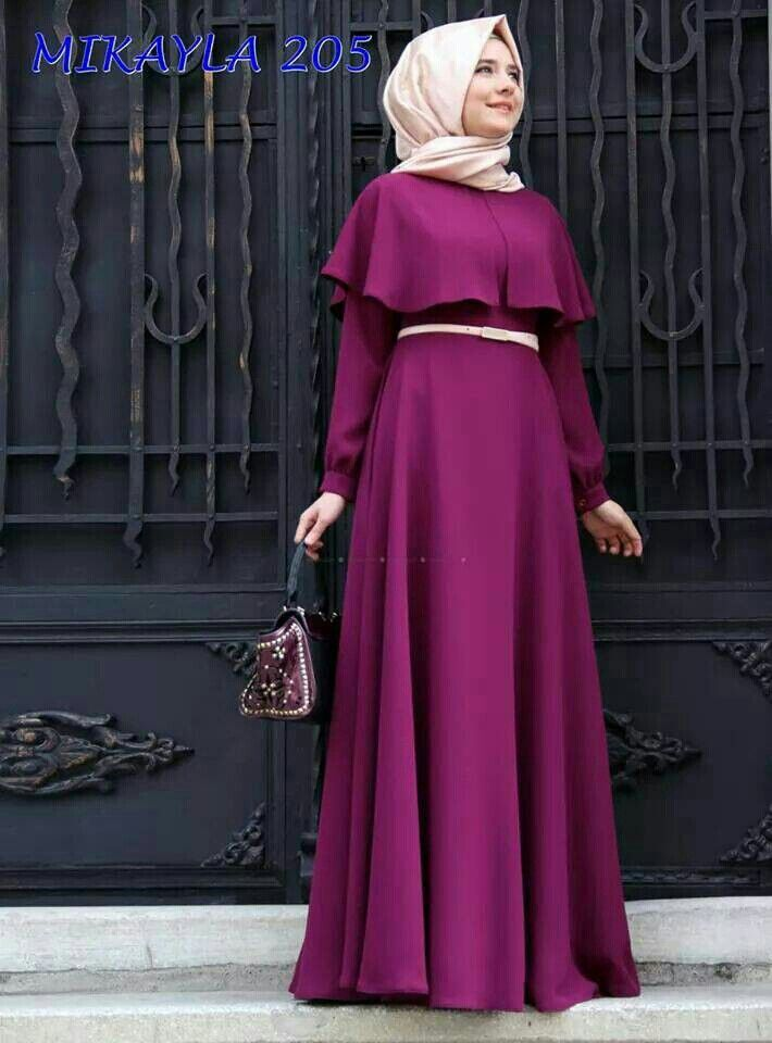 Color blocking muslimah dress purple