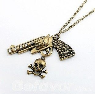 $3.99 Vintage Pistol Pendant Chain Necklace at Online Jewelry Store Gofavor