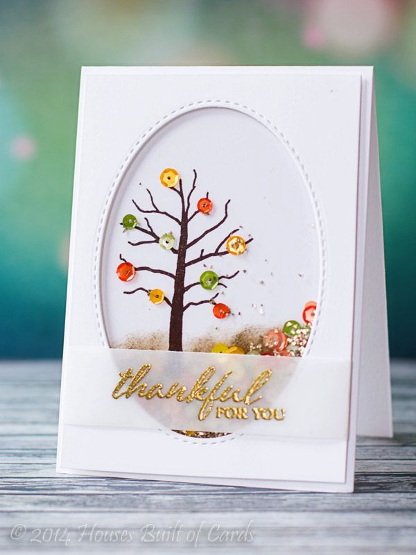 Houses Built of Cards: Winnie and Walter August Release Blog Hop - thanksful for you card by Heather Hoffman featuring stamps from A Tree for All Seasons. #winniewalter