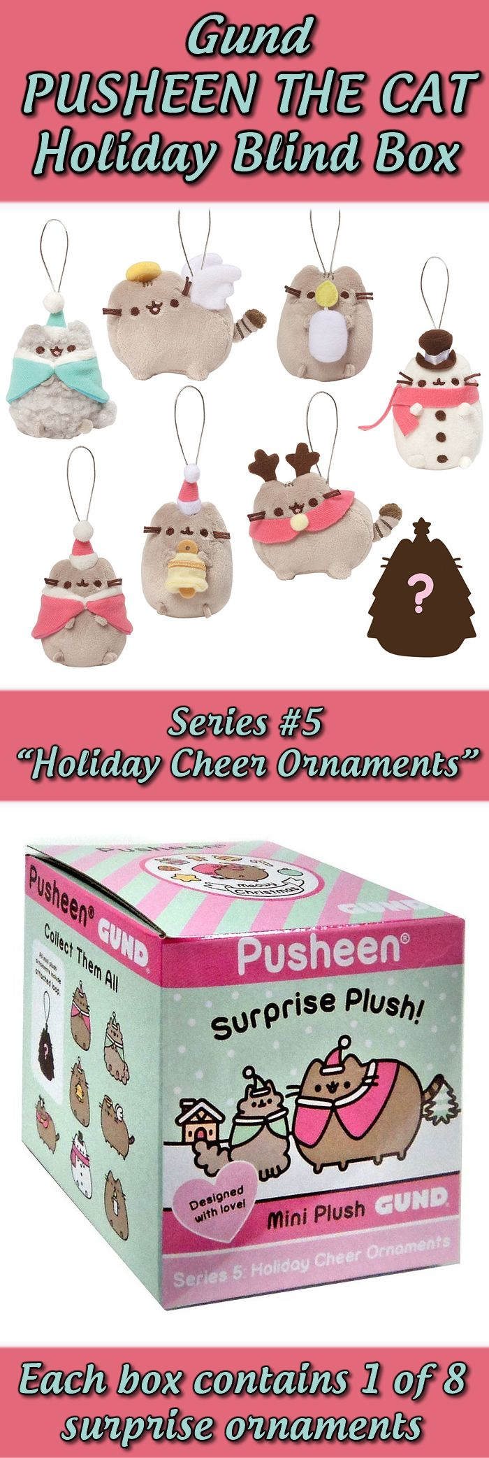 Gund Pusheen Holiday Blind Gift Box - $10 - Christmas, Pusheen the cat, cat lady, cats, gift ideas, cute products #affiliate