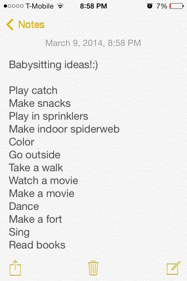 fun things to do when babysitting