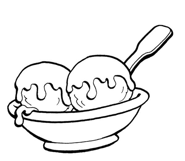 Two Ice Cream Scoops Coloring Page