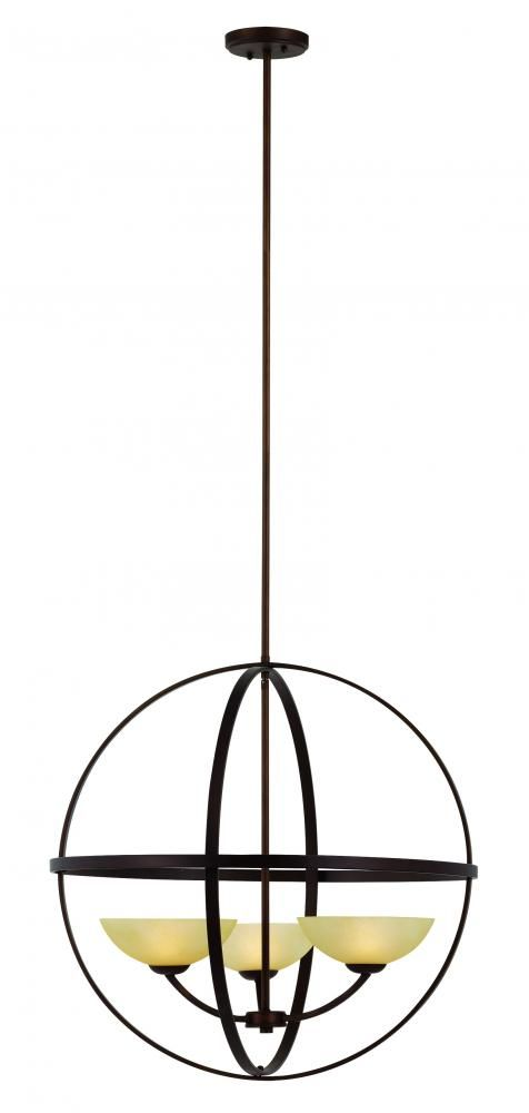This three light up chandelier is part of the hercules collection and has an antique bronze finish and tea stain glass