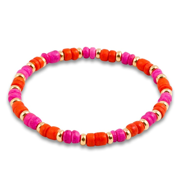 Katie Dean - KRMA - Forever and Always - Hot pink and orange coco beads mixed with gold. 6.5 inches. Browse the collection today at krma.com! #KatieDean #KatieDeanJewelry #KDJ #krma #hellokrma #spring #fashion #springfashion #springseason #2013 #new #trend #trendsetter #fashionista #musthave #loveit #love #needit #jewelry #jotd #potd #designer #gold #diamond #diamonds #necklace #bracelet #ring #earrings #armswag #armparty #armcandy #wishlist