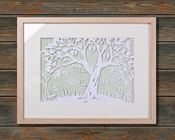 Family Tree Framed personalised paper cut art by wallaceimagery