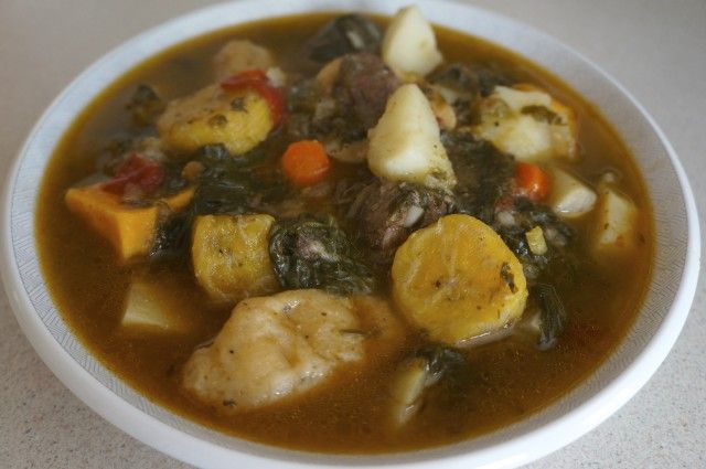Bouyon bef or Haitian beef stew is a hardy traditional stew cooked through out Haiti. Typically made with beef, plantains, and malanga, recipes vary.