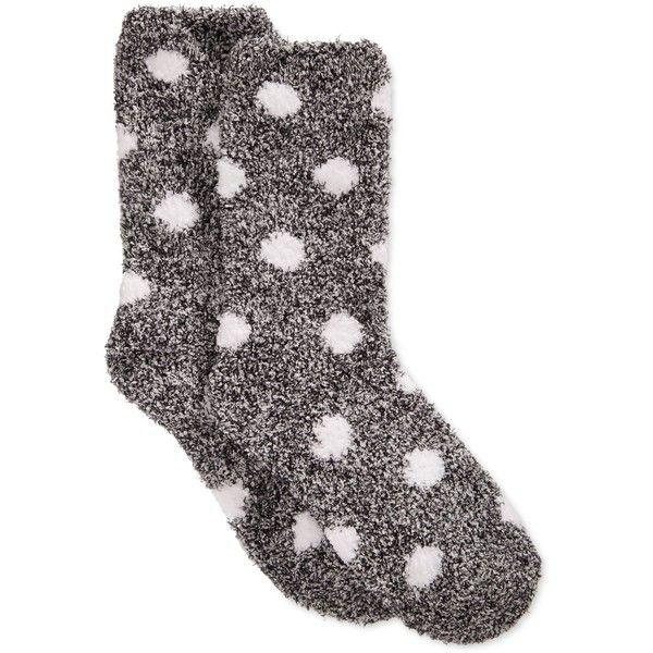 Charter Club Women's Butter Super Soft Marled Dot Socks ($6.99) ❤ liked on Polyvore featuring intimates, hosiery, socks, accessories, socks/tights, dot socks, polka dot hosiery, charter club, black and white socks と polka dot socks