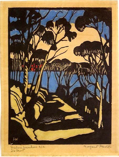 Margaret Preston: Harbour Foreshore, NSW, 1925.  Hand coloured woodcut.