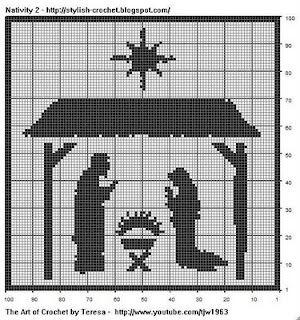 Free Filet Crochet Charts and Patterns: Filet Crochet Nativity Scene - Chart 2
