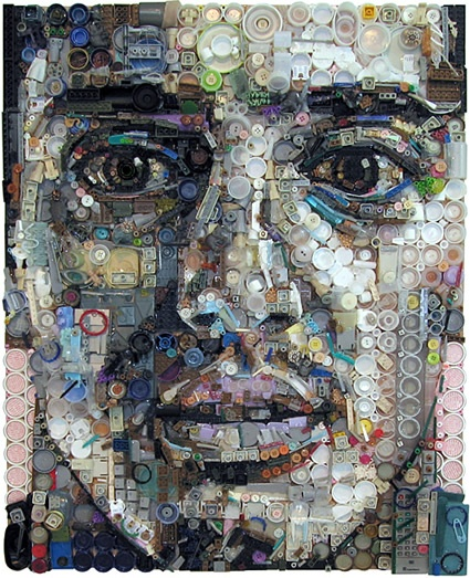 """How cool.  Zac Freeman - """"My work focuses primarily on portraits created by assembling found objects, disposable goods, and the leftover trash of things we consume in our society. I glue the bits of junk to a wooden substrate, a canvas, which forms the image of a portrait. The result is a stunningly realistic portrait at a distance and an interesting array of objects up close."""""""