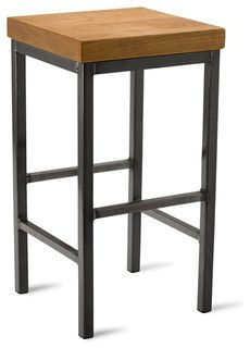 "Square Metal Stool, Cherry, 25"" - eclectic - bar stools and counter stools - by Vermont Farm Table"