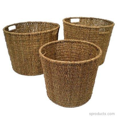Sproducts — Set of 3 Round Seagrass Baskets with Metal Frame