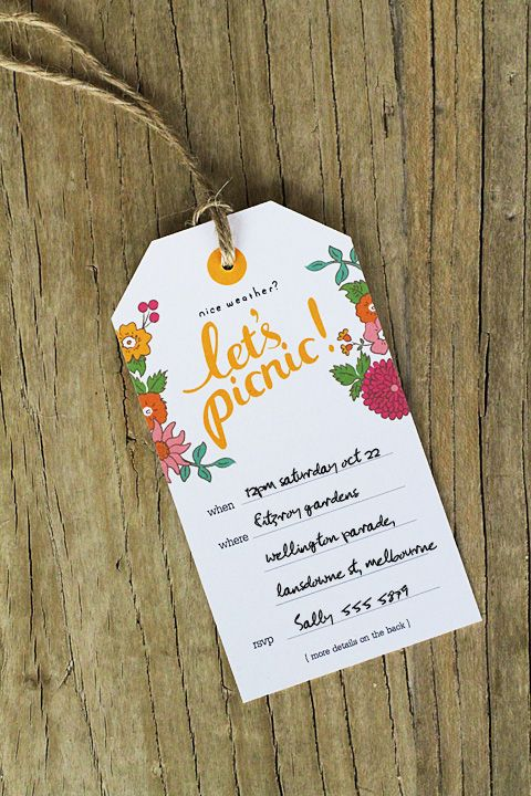 Let's meet..... grappig om aan producten te hangen ...... als flyer .... Picnic labels, tags and invites. Free pdf download. http://www.eatdrinkchic.com