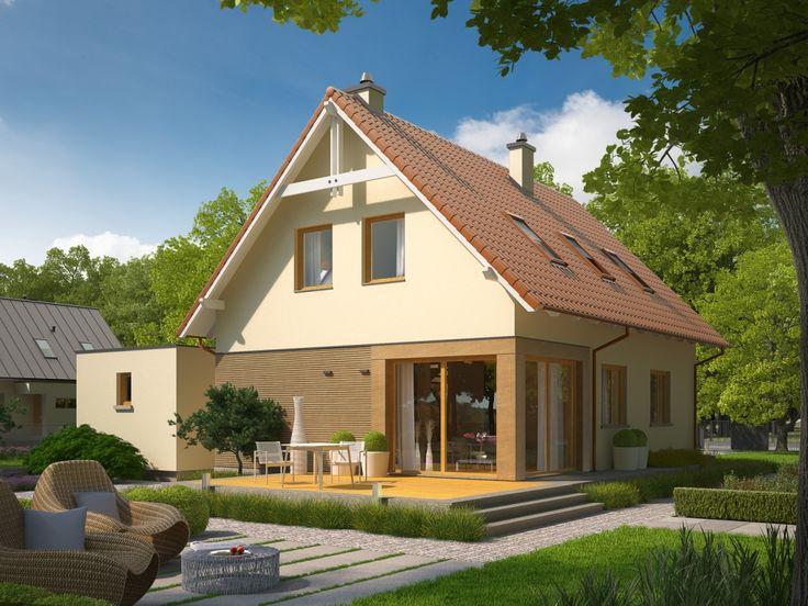 Charakterystycznym elementem architektury budynku jest zadaszony łącznik, który w oryginalny sposób integruje dom z garażem.