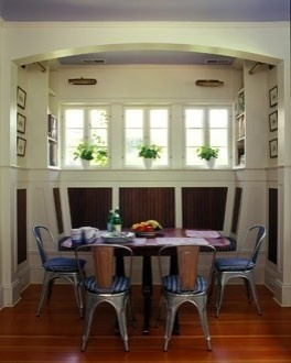 A fun banquette - wooden table, Craftsman built in, and 1930s aluminum cafe chairs.