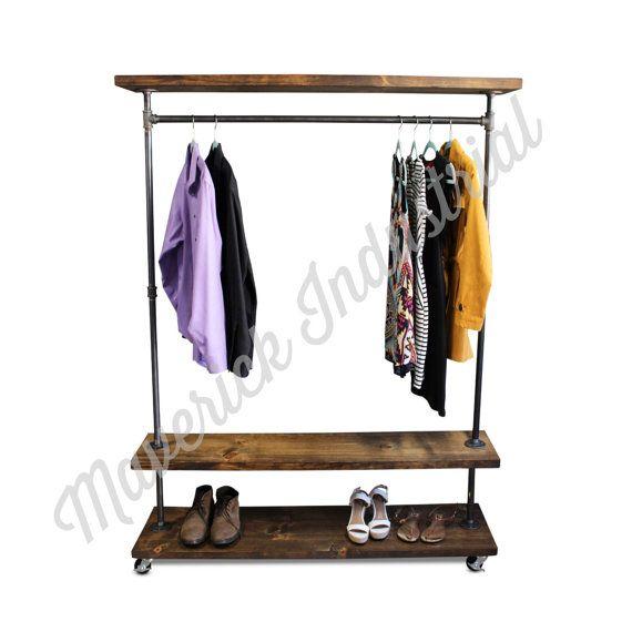 IRD  Triple Shelf Clothing Rack  Industrial Furniture  Pipe