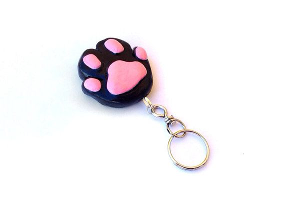 Cat Paw Keychain Polymer Clay Cat Paw by ThreeLittleCatsShop, €6.80